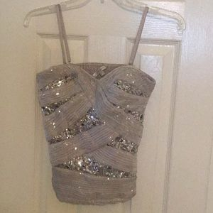 Silver Sequin Bustier Style Top